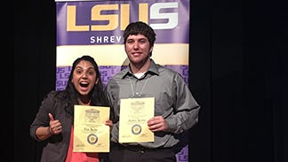 Elisa Murillo (left) and Stephen Kreller (right) posing with their certificates following the awards ceremony.