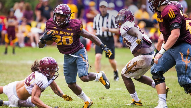 Arizona State running back Trelon Smith looks for daylight during the scrimmage at Camp Tontozona, Saturday, August 5, 2017.