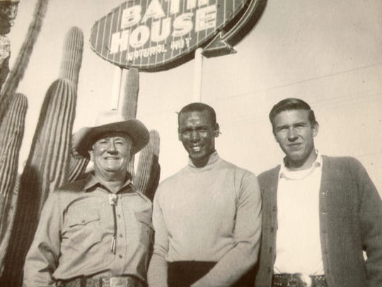A photo of the Chicago Cubs' Ernie Banks (center) with