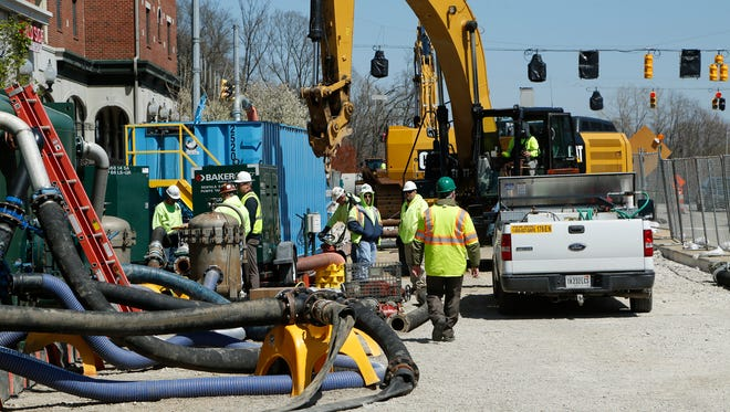Work continus on the West Lafayette sewer project continues Tuesday, April 12, 2016, along River Road in West Lafayette. West Lafayette Utility Director Dave Henderson said the plan is to have the intersection of State Street and River Road back open by the middle of May.