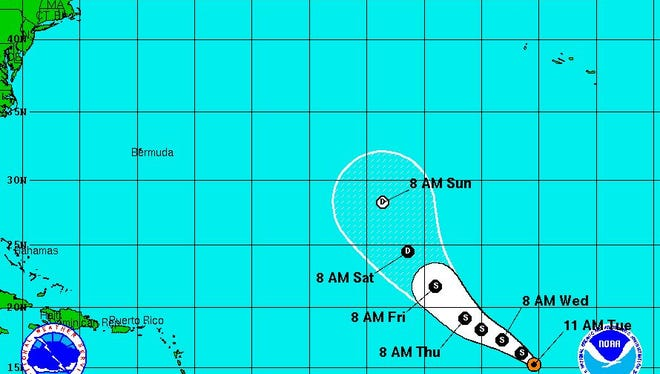 Tropical Storm Lisa forecast path as of 11 a.m. on Tuesday.