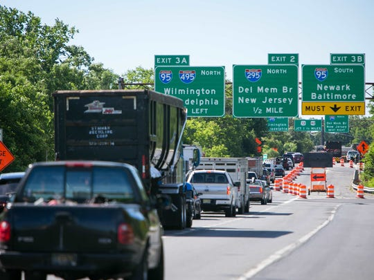 Southbound traffic along 141 at Newport is backed up for over a mile due to construction work.