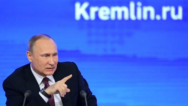 Russian President Vladimir Putin speaks during his annual press conference in Moscow on Dec. 23 2016.