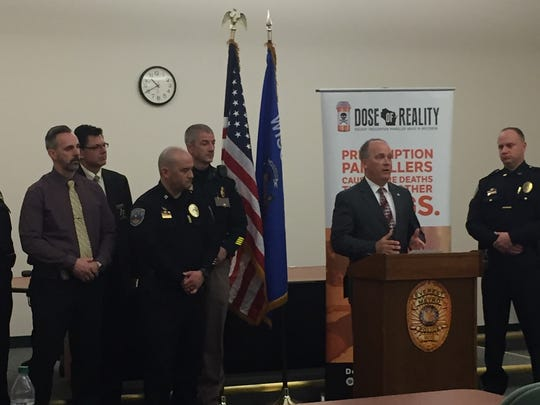 Attorney General Brad Schimel is joined by local law enforcement leaders as he speaks Tuesday at the Everest Metro Police Department in Weston. Drug Take Back Day is April 28, and people are especially encouraged to dispose of commonly abused medications, such as prescription painkillers, muscle relaxants and mood-altering medications.