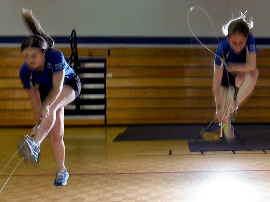 Hot Shots members Helena Cookson and Emma Martin practice