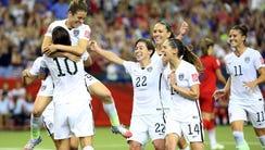 United States forward Kelley O'Hara celebrates her