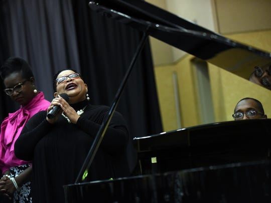 Angela Carter sings Monday during the 10th annual Rev. Dr. Martin Luther King Jr. Prayer Breakfast at the University of Southern Mississippi.