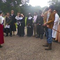 The English 1002/AP English IV students at Opelousas High School reenacted Chaucer's Canterbury Tales Pilgrimage by introducing a modern day intruder on the journey. Students came as a modern personality, but dressed in medieval attire. Students celebrated Shakespeare's 452nd birthday and the 400th anniversary of his death. They also celebrated Queen Elizabeth II in recognition of her 90th birthday and her longest reign as a British monarch, surpassing Queen Victoria. Finally the students researched, designed and built replicas of key British novel literary mansions, completing a celebration for the ages. Above students listen to modern day prologue entries to Geoffrey Chaucer's Canterbury Tales.