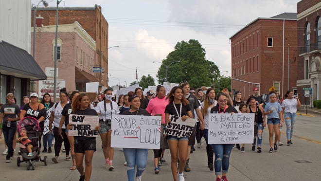 Monmouth's peaceful protest on Wednesday evening was organized by a group of young women.