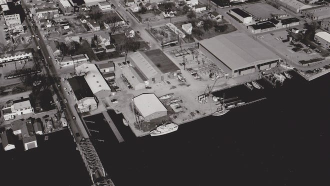 Aerial view of the Palmer Johnson Yachts South Yard, now Center Pointe Yacht Services, circa 1968-69. Photo by Harmann Studios.