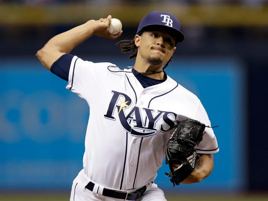 Tampa Bay Rays' Chris Archer pitches to the Baltimore Orioles during the first inning of a baseball game Friday, June 23, 2017, in St. Petersburg, Fla. (AP Photo/Chris O'Meara)