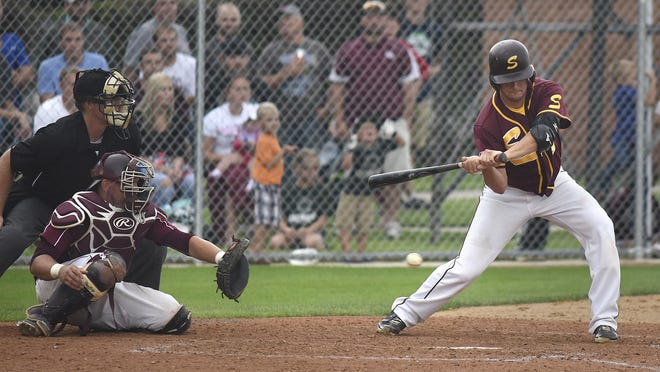 Sobieski pitcher Tyler Jendro bats during Saturday's game against Spring Hill in Cold Spring.