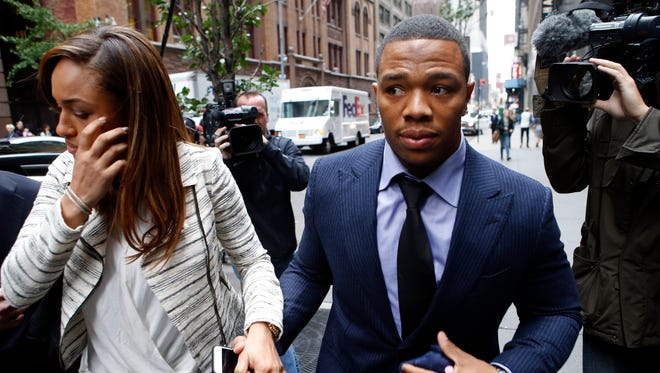 Ray Rice arrives with his wife Janay Palmer for an appeal hearing of his indefinite suspension from the NFL on Nov. 5 in New York.