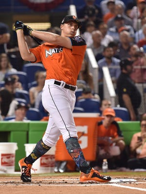 Jul 10, 2017; Miami, FL, USA; Nolan Gorman bats in the high school home run derby at Marlins Park.
