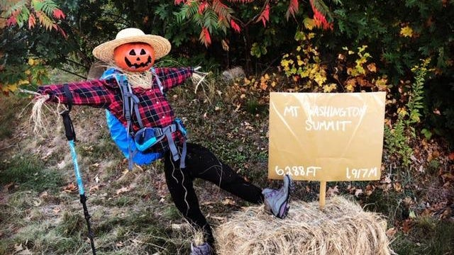 A Mount Washington Summit hiker scarecrow can be spotted on Winnicut Road in North Hampton.