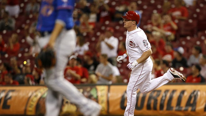 Reds right fielder Jay Bruce rounds the bases after hitting a home run in the eighth inning Thursday during the MLB game between the New York Mets and the Cincinnati Reds at GABP.
