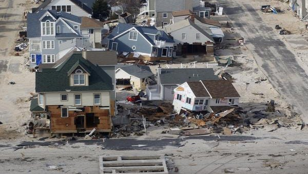 Sandy-damaged homes in the Ortley Beach section of Toms River, N.J., in November 2012.
