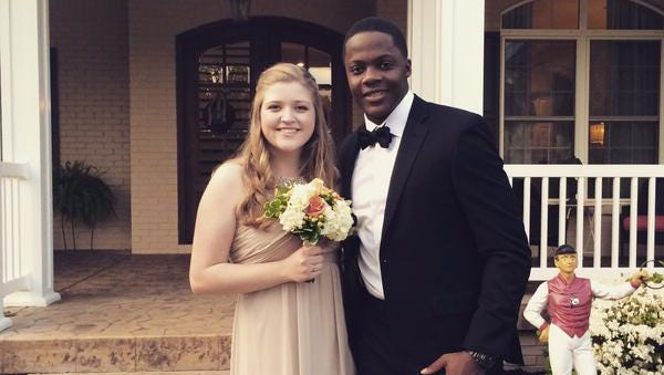 Vikings and former Louisville QB Teddy Bridgewater was the date of Ashley Davis at the Christian Academy of Louisville prom Friday night, May 8.