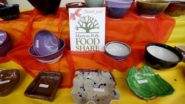 Empty Bowls: Annual sale of ceramic bowls to benefit the Marion Polk Food Share, 9 a.m. to 5 p.m. Saturday and 9 a.m. to 4 p.m. Sunday, Willamette Art Center, Oregon State Fairgrounds, Yellow Gate.