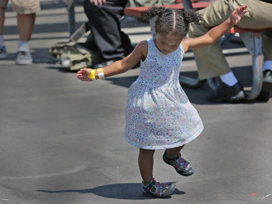 Zoe Czarnyszka, 2, dances all by herself to one of