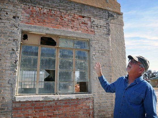 Nocona City Councilor Bob Ferguson talks about the removal of stucco from the front of the old Justin Boot Company offices in downtown. A large renovation project is beginning with construction of a farmers market and community center. Nocona is known as The Leathergoods Capital of the Southwest.