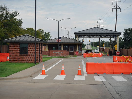 The Main Gate at Sheppard Air Force Base is adjacent to a project on Sheppard Access Road that will enhance security, beautification and construct a Transit Plaza.