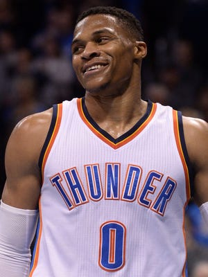 Oklahoma City Thunder guard Russell Westbrook reacts after a play against the Memphis Grizzlies.