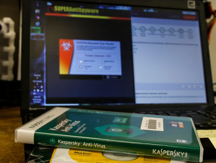 This photo illustration shows a disc containing Kaspersky