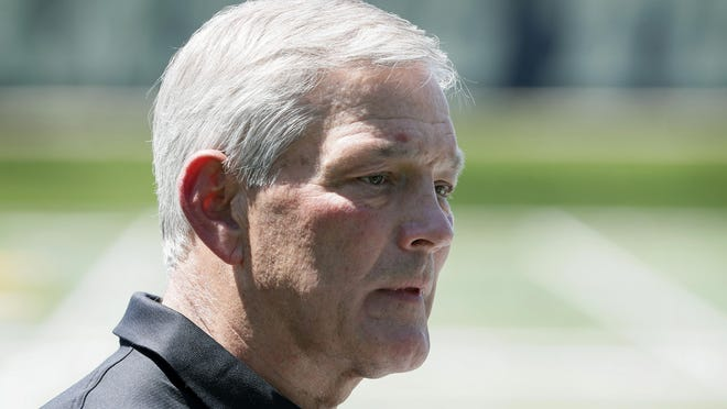 Iowa football coach Kirk Ferentz speaks during a news conference, Friday, June 12, 2020, in Iowa City, Iowa. The Iowa football team took a big step toward improving its lines of communication in the week since the program was hit with allegations of systemic racism, Ferentz and three of his players said Friday.