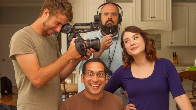 "Group shot with the creators of the ""So True Y'all"" comedy sketch series. Starting from left and going clockwise: Luke Porter (holding camera), Matt Mitchell, Talia Lin, Adam Schwartz"