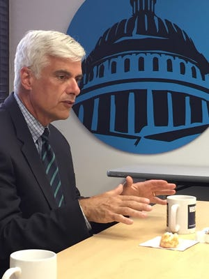 David McIntosh, president of conservative, anti-tax Club for Growth, speaks to reporters Monday at USA TODAY's Washington Bureau.