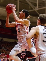 Southern Utah guard Dre Marin (4) attempts a shot during