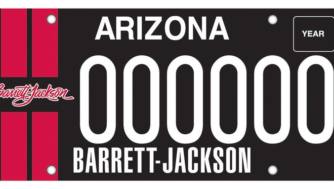 Arizona Department of Transportation's Barrett-Jackson plate features a pair of stripes you might find on a Ford Mustang Shelby GT.