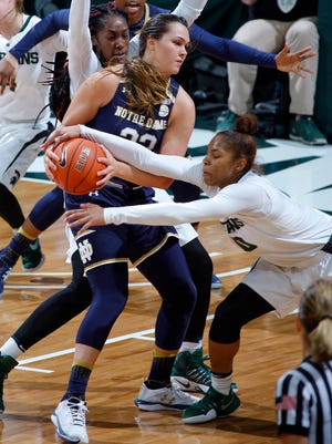 Michigan State's Branndais Agee, right, ties up Notre Dame's Kathryn Westbeld during Tuesday night's game. Notre Dame won, 79-61.