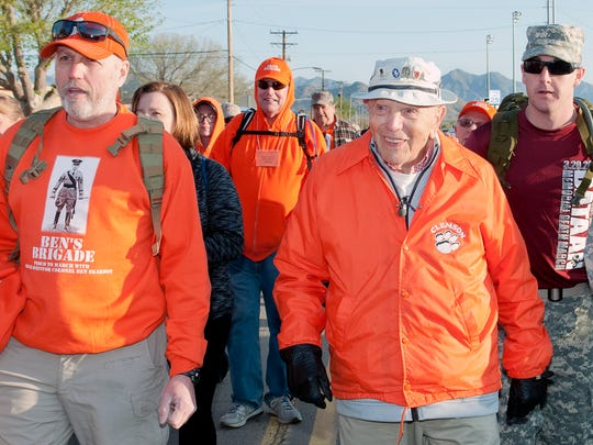 98 year old Bataan Survivor Colonel Ben Skardon starts his 8 mile march with his support group Ben's Brigade Sunday morning at the 27th running of the Bataan Memorial Death March held at White Sands Missile Range.
