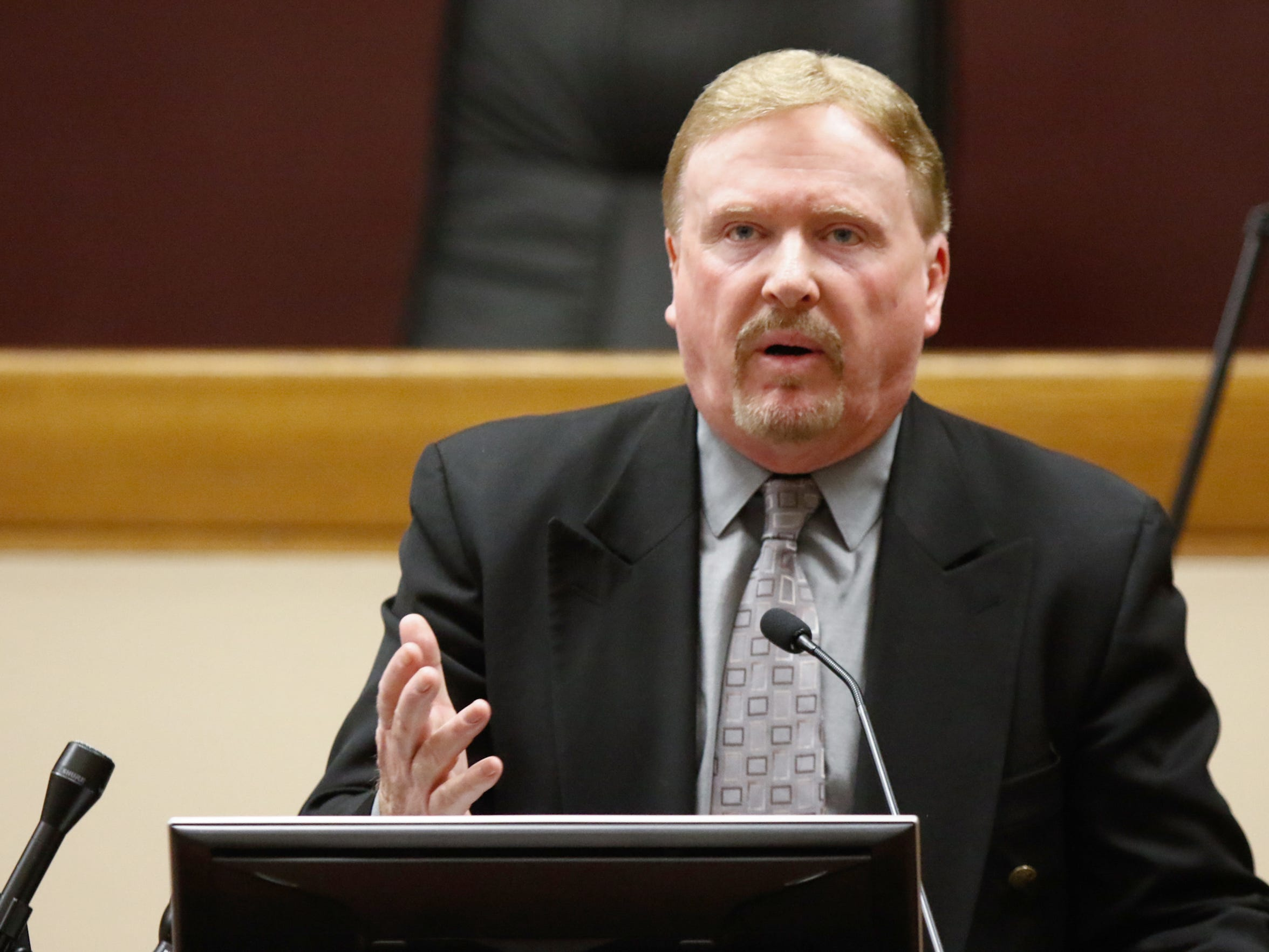James Hunt, special agent in charge, Drug Enforcement Administration, New York Division, during a drug-crisis forum at Pace University Law School in White Plains on Dec. 1, 2016.