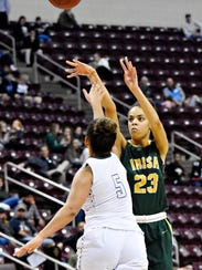 York Catholic's Jania Wright, right, and the Irish (13-13) will take on Mastery Charter South (19-1) on Friday in the first round of the PIAA Class 3-A playoffs at 6:30 p.m. at West York High School.