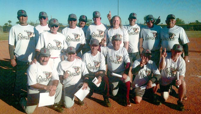 The New Mexico Boomers, a senior softball team made up of Luna and Grant County ball players, won the Winter World Championships in November held in Phoenix, AZ.. The team went 6-0 and defeated teams from Colorado, Illinois, Idaho and Oregon. The championship win capped a four-year journey to the top of this tournament. The Boomers placed second in 2014. The team is, standing from left, Robert Mease, Bill French, Louie Ortega, Bob Ward, Pete Lozano, Dean Bearup, Bob Chesney, Steve Armstrong, John Houseman and Bobby Ruiz. Kneeling in front, from left, are: Miguel Medrano, Julio Rios, Johnny Ortega, Vic Nanez, Lupe Lopez and Bill Neal.