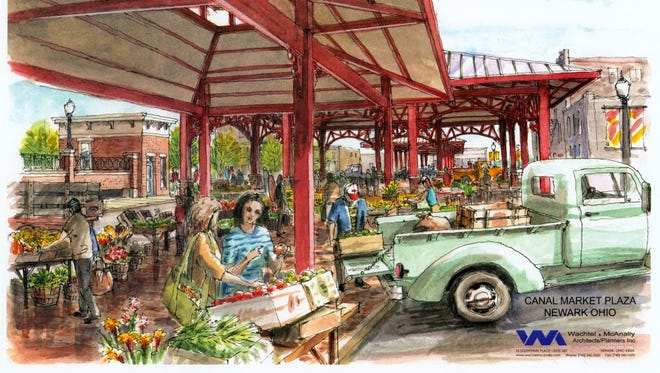 An artist's rendering of the proposed open-air market on what is now a gravel parking lot bordered by Canal, Market, Second and Third streets.