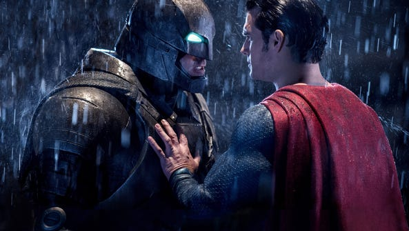 Ben Affleck, left, and Henry Cavill in a scene from
