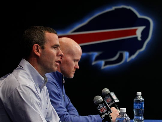 "Bills GM Brandon Beane and coach Sean McDermott. Beane used two second-round picks to trade up from No. 12 to No. 7 to draft quarterback Josh Allen and hasn't looked back. ""You'd rather make that move and get the guy you want than sit on your hands and let someone else take him,'' he said."