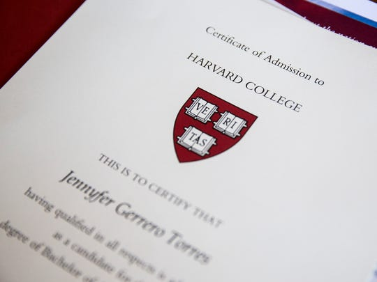 Jennyfer Gerrero Torres' Harvard College acceptance packet sits on a table at her home in Immokalee, Florida, on Monday, May 8, 2017. Torres is the first student from Immokalee High School to gain acceptance to Harvard University as an undergraduate.