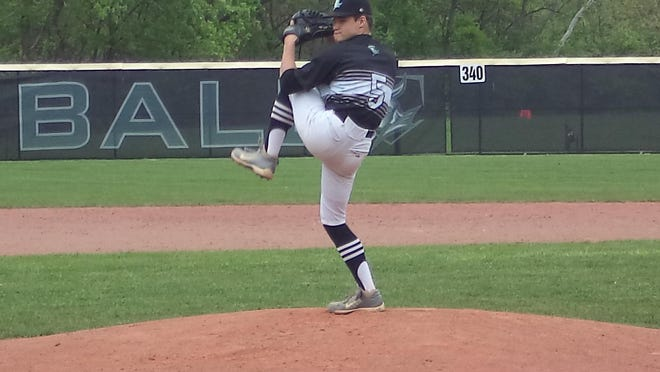 Nordonia pitcher Caleb Cunningham works from the stretch during the Knights' 7-2 home win over Stow.