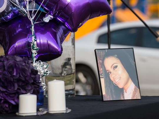 A view of a memorial for Erica Gould at Cypress Park in Pocomoke City on Tuesday, April 3, 2018.