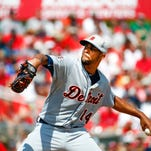 Detroit Tigers starting pitcher David Price (14) works in the first inning of an exhibition spring training baseball game against the St. Louis Cardinals Monday, March 16, 2015, in Jupiter, Fla.