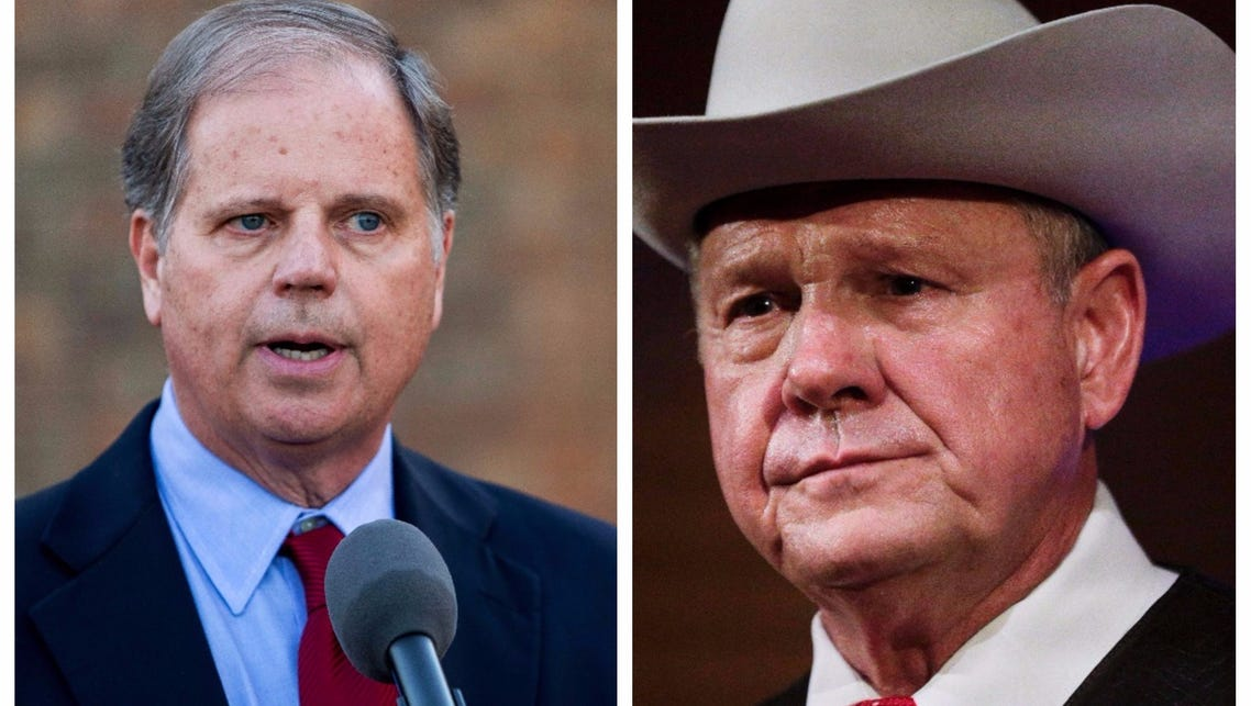 Doug jones, left, and Roy Moore