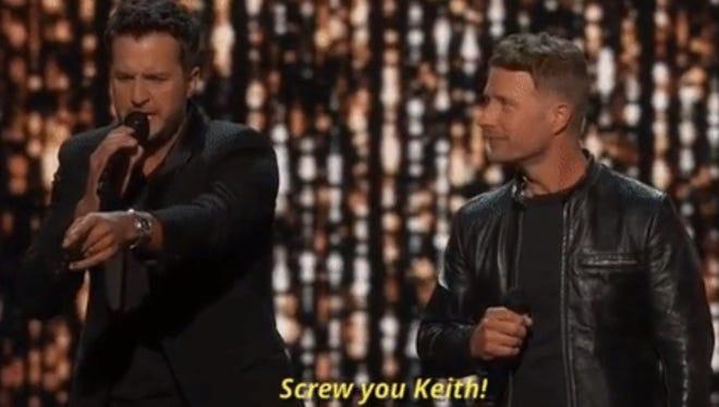 Luke Bryan went after Keith Urban (as a joke) during the ACM Awards
