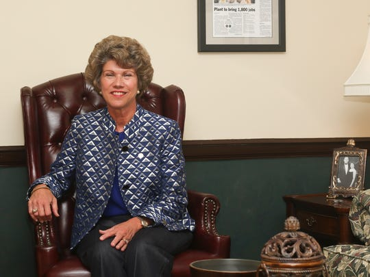 Clarksville Mayor Kim McMillan sits in her office at City Hall.