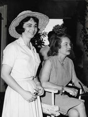"Taris Savell with Bette Davis on the set of ""Hush Hush Sweet Charlotte"" in June 1964 in Baton Rouge, Louisiana. Savell originally met Davis in 1963 in Pensacola."