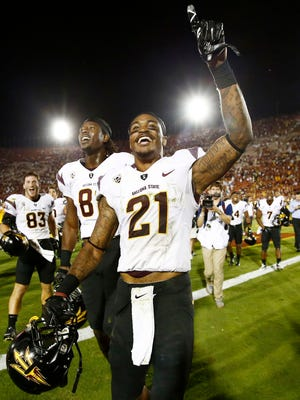 Arizona State's Jaelen Strong celebrates after catches a Hail Mary pass from Mike Bercovici to defeat USC on the final play of the game on Saturday, Oct. 4, 2014, at Los Angeles Memorial Coliseum.